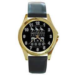 Holiday Party Attire Ugly Christmas Black Background Round Gold Metal Watch