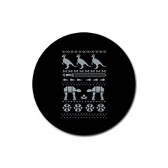 Holiday Party Attire Ugly Christmas Black Background Rubber Round Coaster (4 pack)