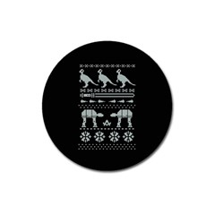 Holiday Party Attire Ugly Christmas Black Background Magnet 3  (round)