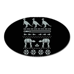 Holiday Party Attire Ugly Christmas Black Background Oval Magnet