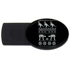 Holiday Party Attire Ugly Christmas Black Background USB Flash Drive Oval (1 GB)