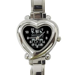 Holiday Party Attire Ugly Christmas Black Background Heart Italian Charm Watch