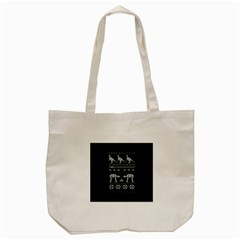 Holiday Party Attire Ugly Christmas Black Background Tote Bag (Cream)