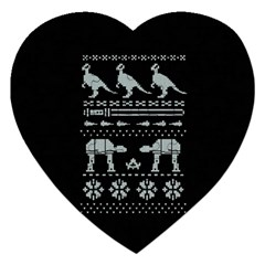Holiday Party Attire Ugly Christmas Black Background Jigsaw Puzzle (heart)