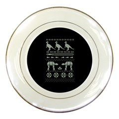 Holiday Party Attire Ugly Christmas Black Background Porcelain Plates