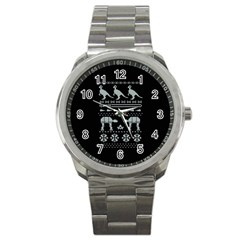 Holiday Party Attire Ugly Christmas Black Background Sport Metal Watch