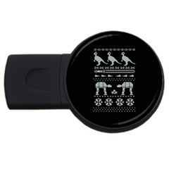 Holiday Party Attire Ugly Christmas Black Background USB Flash Drive Round (4 GB)