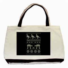 Holiday Party Attire Ugly Christmas Black Background Basic Tote Bag