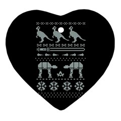 Holiday Party Attire Ugly Christmas Black Background Heart Ornament (2 Sides)