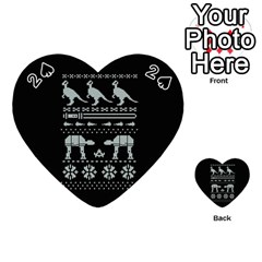 Holiday Party Attire Ugly Christmas Black Background Playing Cards 54 (heart)