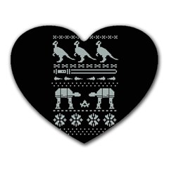 Holiday Party Attire Ugly Christmas Black Background Heart Mousepads