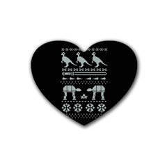 Holiday Party Attire Ugly Christmas Black Background Rubber Coaster (heart)