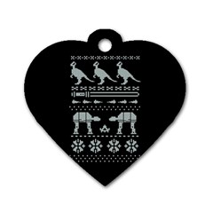 Holiday Party Attire Ugly Christmas Black Background Dog Tag Heart (two Sides)