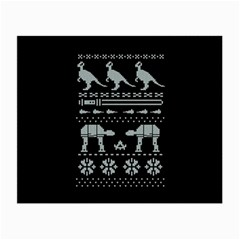 Holiday Party Attire Ugly Christmas Black Background Small Glasses Cloth (2 Side)