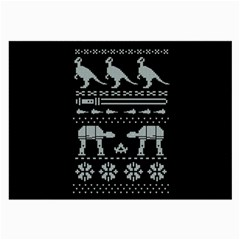 Holiday Party Attire Ugly Christmas Black Background Large Glasses Cloth (2 Side)