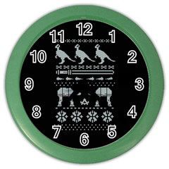 Holiday Party Attire Ugly Christmas Black Background Color Wall Clocks