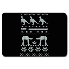 Holiday Party Attire Ugly Christmas Black Background Large Doormat
