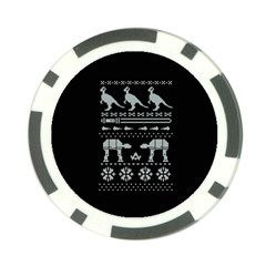 Holiday Party Attire Ugly Christmas Black Background Poker Chip Card Guards