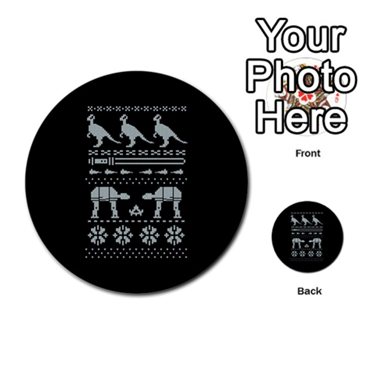 Holiday Party Attire Ugly Christmas Black Background Multi-purpose Cards (Round)