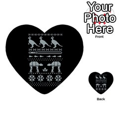 Holiday Party Attire Ugly Christmas Black Background Multi-purpose Cards (Heart)