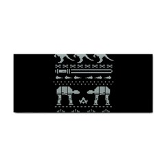 Holiday Party Attire Ugly Christmas Black Background Hand Towel