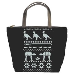 Holiday Party Attire Ugly Christmas Black Background Bucket Bags
