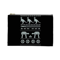 Holiday Party Attire Ugly Christmas Black Background Cosmetic Bag (large)