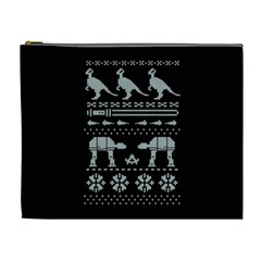 Holiday Party Attire Ugly Christmas Black Background Cosmetic Bag (XL)