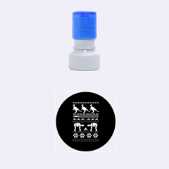 Holiday Party Attire Ugly Christmas Black Background Rubber Round Stamps (Small)