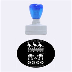 Holiday Party Attire Ugly Christmas Black Background Rubber Oval Stamps