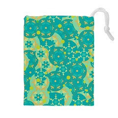 Cyan design Drawstring Pouches (Extra Large)