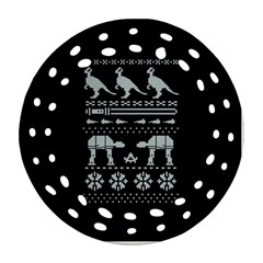 Holiday Party Attire Ugly Christmas Black Background Round Filigree Ornament (2Side)