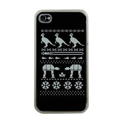 Holiday Party Attire Ugly Christmas Black Background Apple iPhone 4 Case (Clear)