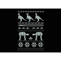 Holiday Party Attire Ugly Christmas Black Background Birthday Cake 3D Greeting Card (7x5)