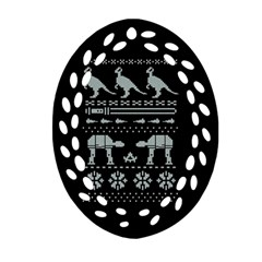 Holiday Party Attire Ugly Christmas Black Background Ornament (Oval Filigree)