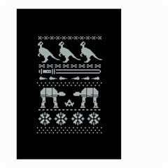 Holiday Party Attire Ugly Christmas Black Background Small Garden Flag (two Sides)