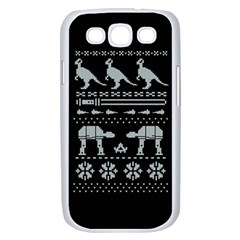 Holiday Party Attire Ugly Christmas Black Background Samsung Galaxy S III Case (White)