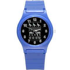 Holiday Party Attire Ugly Christmas Black Background Round Plastic Sport Watch (S)