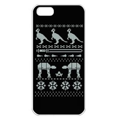 Holiday Party Attire Ugly Christmas Black Background Apple iPhone 5 Seamless Case (White)