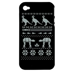 Holiday Party Attire Ugly Christmas Black Background Apple iPhone 4/4S Hardshell Case (PC+Silicone)