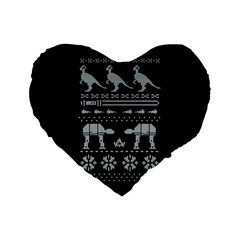 Holiday Party Attire Ugly Christmas Black Background Standard 16  Premium Heart Shape Cushions