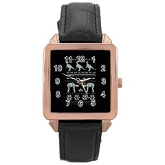 Holiday Party Attire Ugly Christmas Black Background Rose Gold Leather Watch