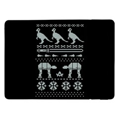 Holiday Party Attire Ugly Christmas Black Background Samsung Galaxy Tab Pro 12.2  Flip Case