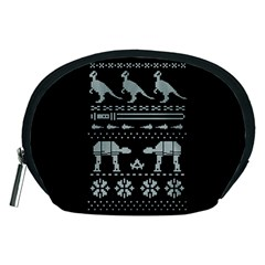 Holiday Party Attire Ugly Christmas Black Background Accessory Pouches (Medium)