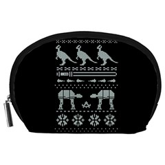 Holiday Party Attire Ugly Christmas Black Background Accessory Pouches (large)