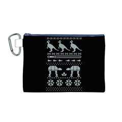 Holiday Party Attire Ugly Christmas Black Background Canvas Cosmetic Bag (M)