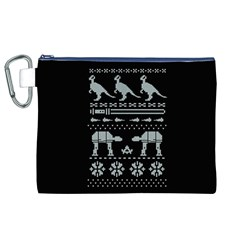 Holiday Party Attire Ugly Christmas Black Background Canvas Cosmetic Bag (XL)