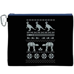 Holiday Party Attire Ugly Christmas Black Background Canvas Cosmetic Bag (XXXL)