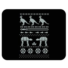 Holiday Party Attire Ugly Christmas Black Background Double Sided Flano Blanket (Medium)