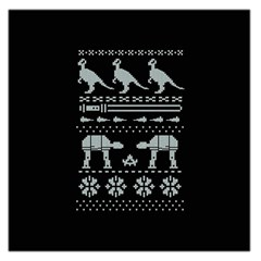 Holiday Party Attire Ugly Christmas Black Background Large Satin Scarf (Square)